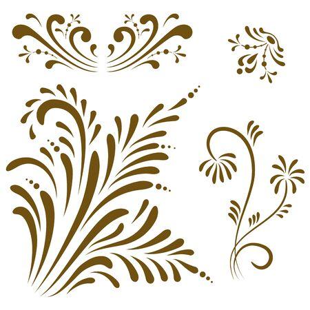 Ornament elements, vintage color floral designs. Stock Vector - 9812001