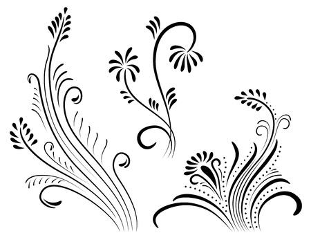 set of vintage color floral designs.