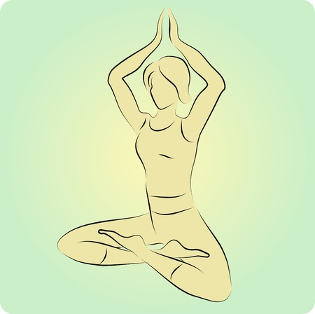 illustration of stylized yoga pose.  Vector