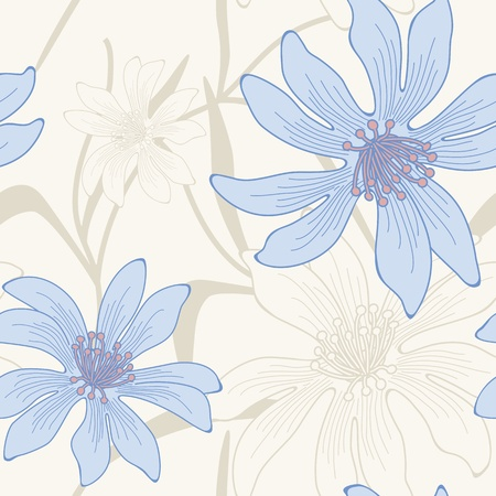 seamless hand drawn flower and leaves background.