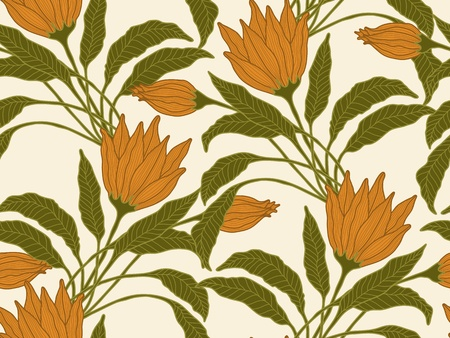 seamless hand drawn flower and leaves background. Stock Vector - 9935632