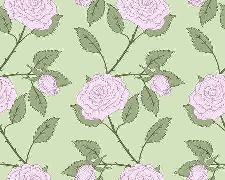 seamless hand drawn roses and leaves background. Stock Vector - 9935630