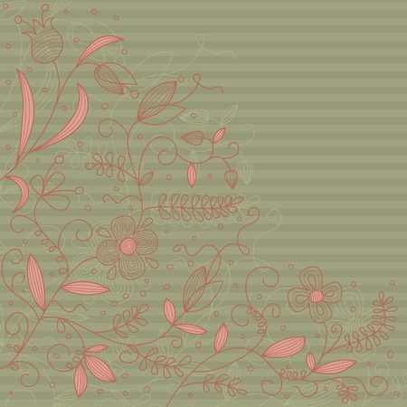 Vector floral abstract pattern on a strip background. Stock Vector - 10323824