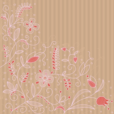 Vector floral abstract pattern on a strip background. Vector