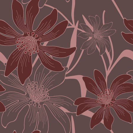 seamless hand drawn flower and leaves background. Vector