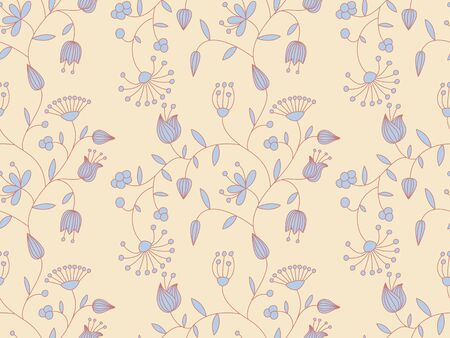 Pastel seamless background with floral pattern. Vector