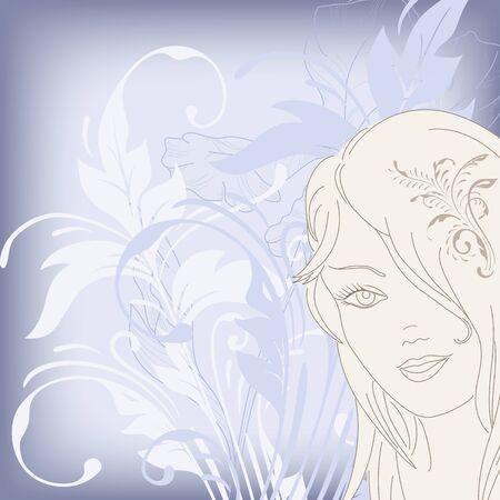 Illustratie van een mooie jonge meisje op een florale achtergrond. Vector Illustratie