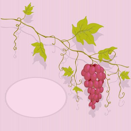 Red grapes with leaves on a striped background and place for text.