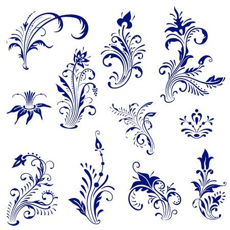 Set of ornament vintage floral elements. Ilustracja