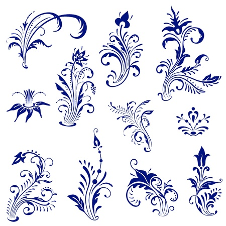 Set of ornament vintage floral elements. Vector