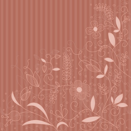 Vector floral pattern on a striped background.  Stock Vector - 10637864