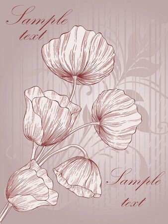 Vector template frame design with poppies for greeting card. Vector