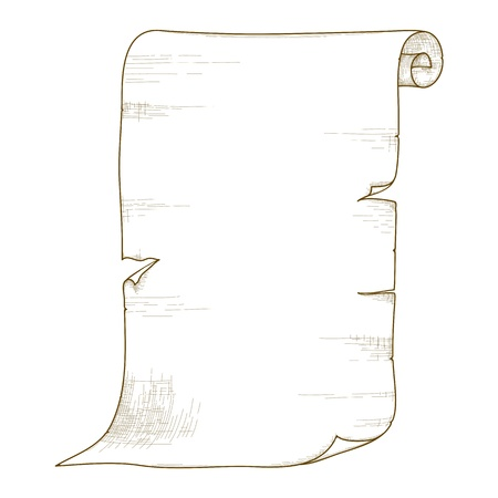 papyrus: Vector illustration of old paper roll isolated on white background.