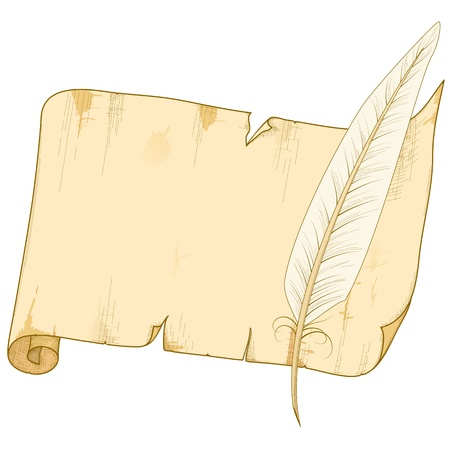 Vector illustration of old paper roll isolated with feather. Vector