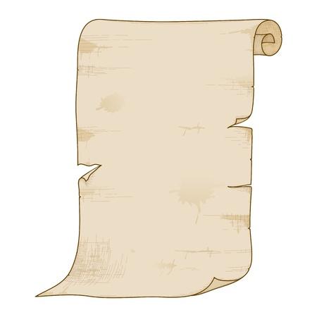 papiro: Illustrazione vettoriale di rotolo di carta vecchia isolato su sfondo bianco. Vettoriali