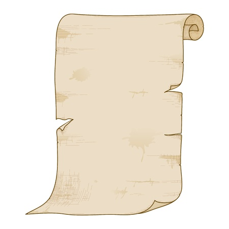 Vector illustration of old paper roll isolated on white background.
