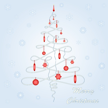 Vector illustration of beautiful christmas tree with snowflakes. Vector