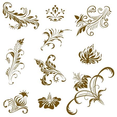 Ornament vector elements, vintage floral designs.