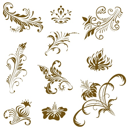 Ornament vector elements, vintage floral designs.