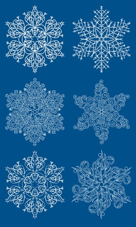 Blue snowflakes vector design set. Vector