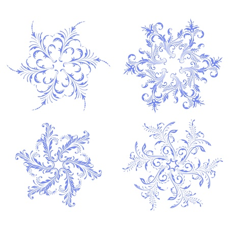 Blue snowflakes vector design set.