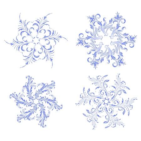 Blue snowflakes vector design set.  Vector