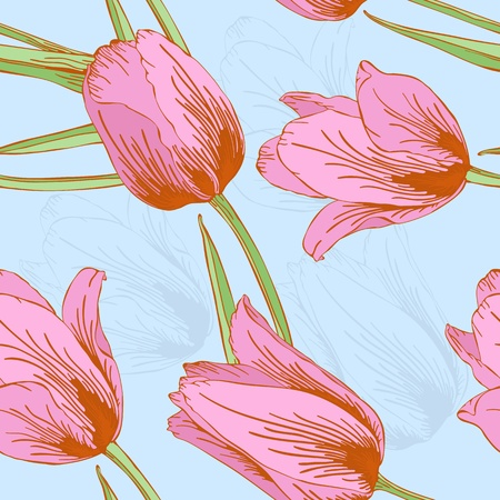 Vector pastel seamless background with tulips flowers. Stock Vector - 11241655
