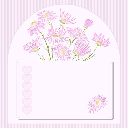 wedding decoration: Vector greeting card with flowers for valentines day. Illustration