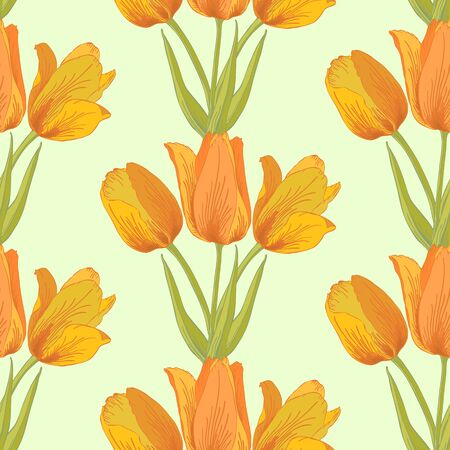 Vector pastel seamless background with tulips flowers. Vector