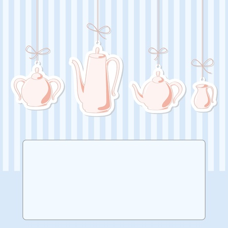 Vector illustration of tea and coffee set. Vector