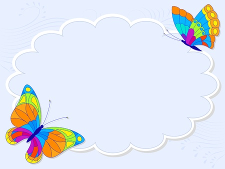 Vector illustration with colorful butterflies for greeting card. Vector