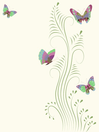 Vector illustration with colorful butterflies for greeting card. Stock Vector - 12327633