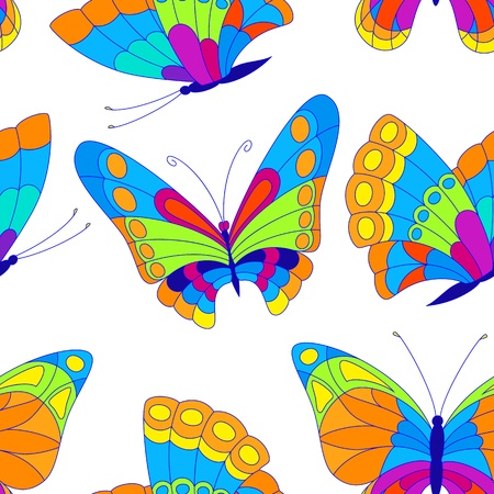 Vector illustration with colorful butterflies for seamless background. Stock Vector - 12327636