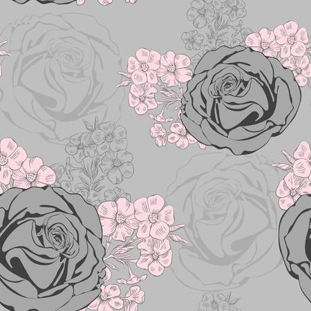 Vector bezszwowe tło z róż i Phlox.