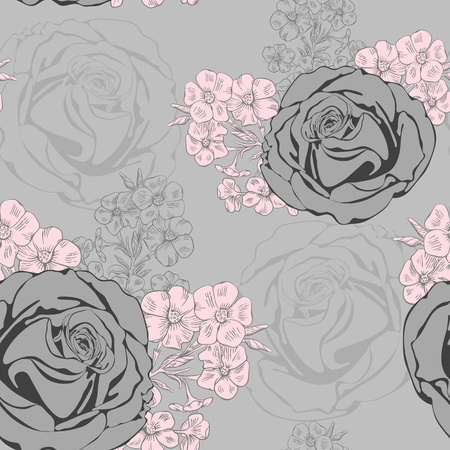 Vector seamless background with roses and phlox. Illustration