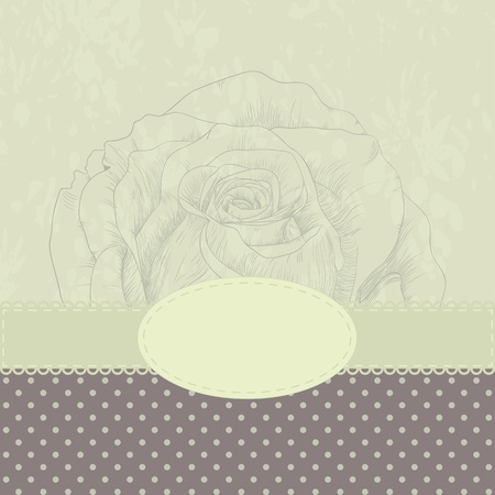 illustration with rose for greeting card. Vector
