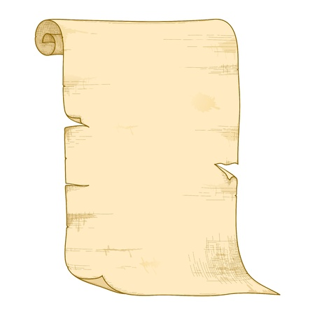 parchment scroll: illustration of old paper roll isolated on white background.