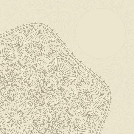 Ilustracji wektorowych z ornamentem dla karty z pozdrowieniami. Ilustracja