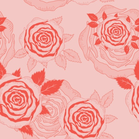 Vector seamless hand drawn roses and leaves background. Stock Vector - 13450391