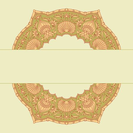 embroidery designs: Vector vintage ornamental background with place for text.