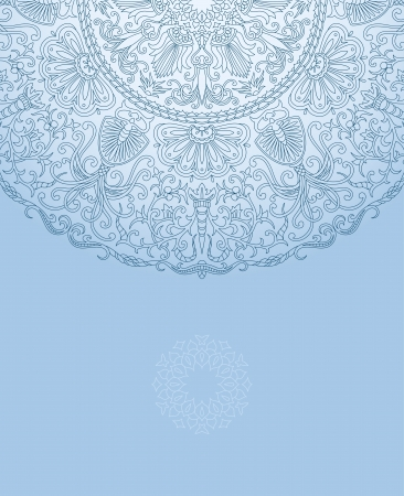 Vector illustration with floral ornament with place for text. 일러스트