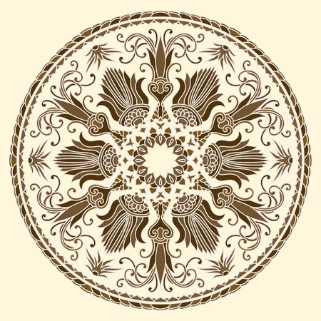 Vector illustration with floral ornament for print. Vector