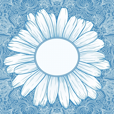 blue daisy: illustration with ornament for greeting card with daisy.