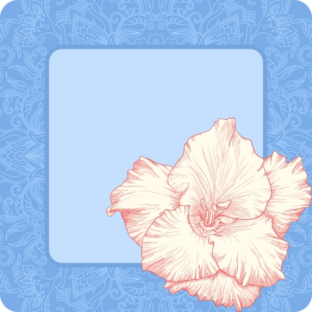 illustration with ornament for greeting card with gladiolus. Vector