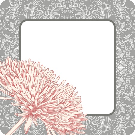 illustration with ornament for greeting card with chrysanthemum. Vector
