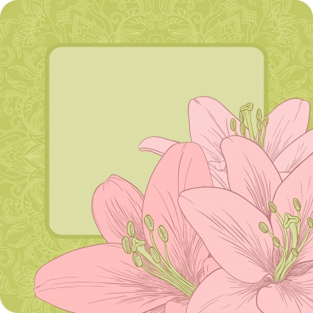 Vector illustration for greeting card with lilies.