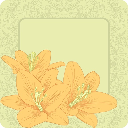 Vector illustration for greeting card with lilies. Vector