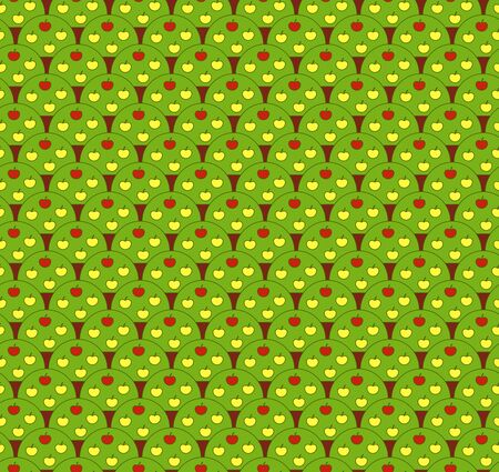 appletree: Vector green seamless background with apple-trees. Illustration