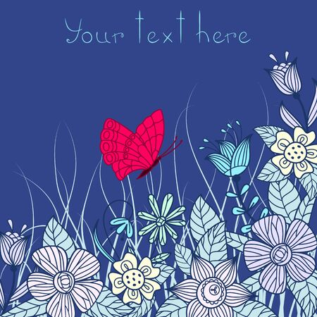 Vector illustration greeting card with floral pattern. Vector