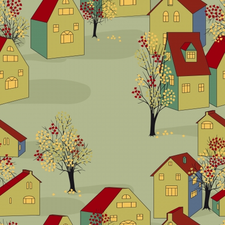 town square: Vector illustration with seamless pattern with houses.